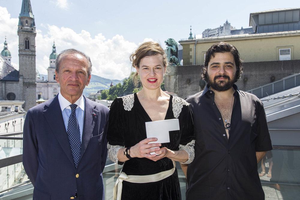Jérôme-François Zieseniss (President of FEDORA), Sharon Eyal (Ballet Winner), Gai Behar (Ballet Winner)©FEDORA