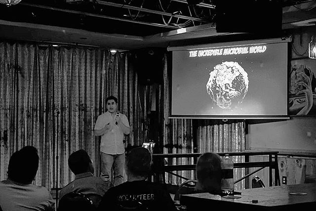 Our final speaker for tonight, Dr. Christopher Sales, on how microbes aren't necessarily bad, and the ways researchers are using microbes to degrade environmental contaminants. #scicomm #outreach #stem #philadelphia #tasteofsci #environment #microbes #bacteria #purification