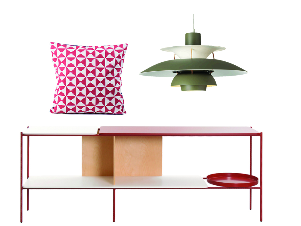 Tiles cushion by All The Fruits  PH 5 Pendant Light by  Louis Poulsen  Candy Shelf by Sylvain Willenz for Cappellini