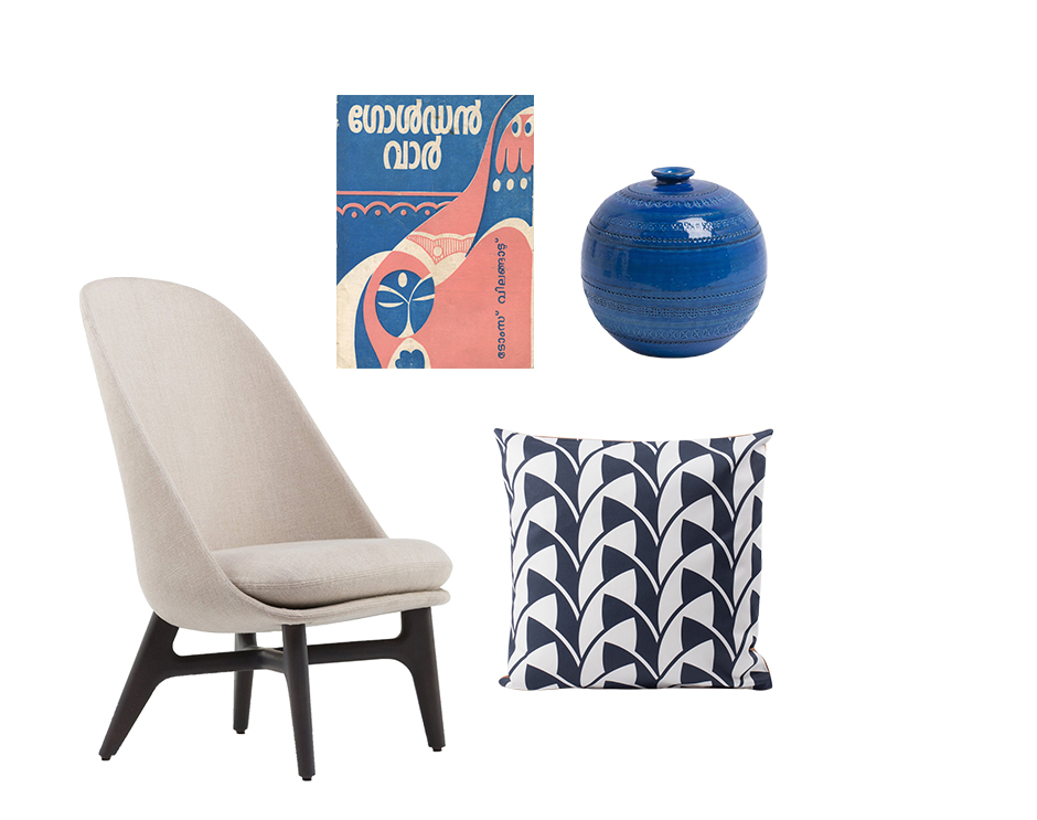 Solo chair by Neri & Hu for De La Espada Ball Vase by Bitossi Ceramiche Vintage Indian Book Cover Leaf cushion by All The Fruits