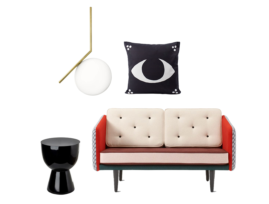 Deity Eye cushion by All The Fruits  Tam Tam stool by Pols Potten IC Light S pendant light by Michael Anastassiades for Flos No. 1 two-seater sofa by Børge Mogensen for Fredericia (The Fringy Edition by Henrik Vibskov)