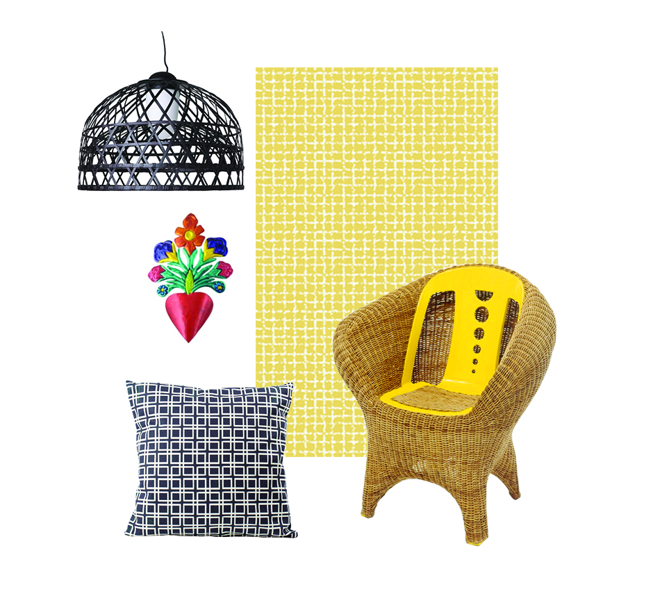 Bamboo Suspension Lamp by Moooi Mexican Tin Art Squares Cushion by All The Fruits Pencil Wallpaper by All The Fruits Interplastic armchair by Studio Campana