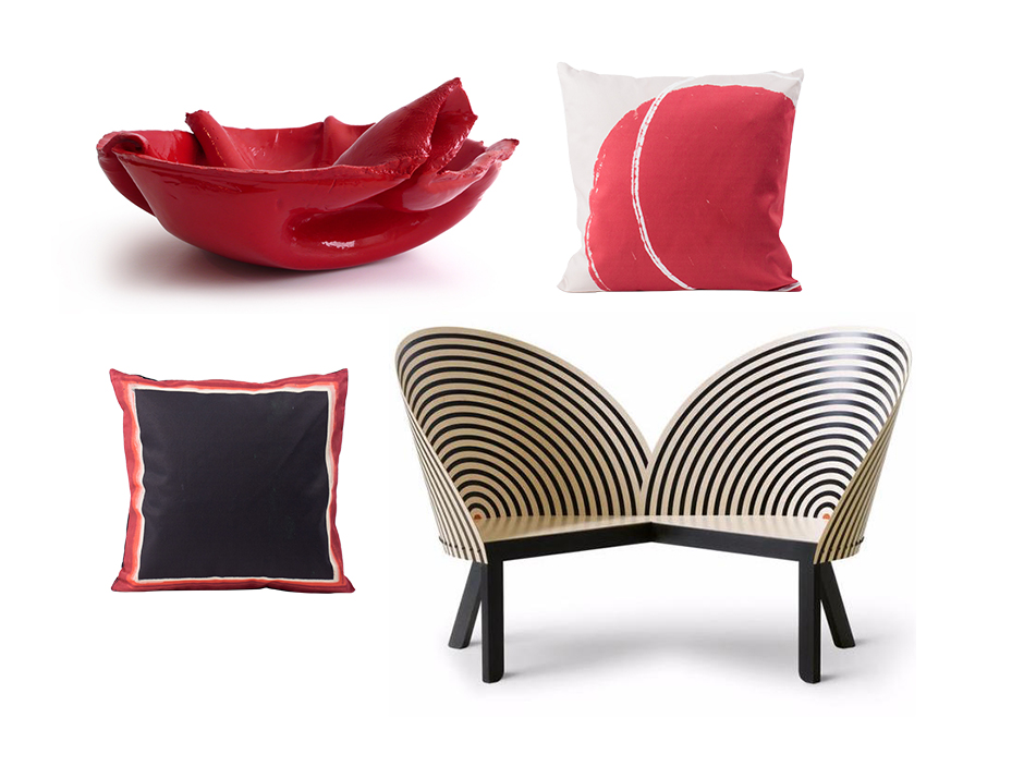 Frame cushion by All The Fruits Bench for Two by Nanna Ditzel for Fredericia Orchid Bowl by Fredrikson Stallard Red Balloon cushion by All The Fruits