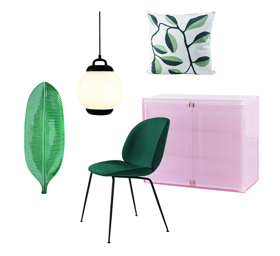 Banano 2 plate by Bosa Esper pendant light by Roll & Hill Beetle chair by GamFratesi for Gubi Olivo cushion by All The Fruits Frozen cabinet by Studio Wieki Somers