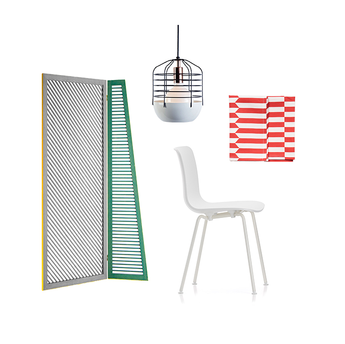 Gelosia screen by Studiopepe for Spotti Milano Bluff City pendant light by Jonah Takagi for Roll & Hill Hal chair by Jasper Morrison for Vitra Lotta tea towel by All The Fruits
