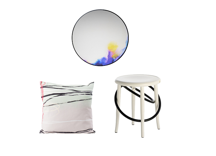 Francis mirror by Constance Guisset for Petite Friture    Scribble cushion by All The Fruits     Cirque stool by Martino Gamper