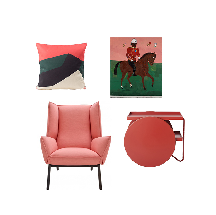 Sonia cushion by All The Fruits  Toa armchair by Rémi Bouchaniche for Ligne Roset 'As He Bowed His Head To Drink' by Danny Fox, 2015 Chariot tray by GamFratesi for Casamania
