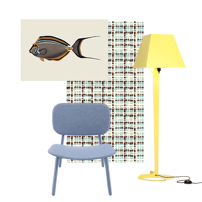 Striped-face Unicorn Fish by Cristina Amodeo Felt chair by Delo Lindo for Ligne Roset Bouclè Wallpaper by All The Fruits Fold floor lamp by Alexander Taylor for Established & Sons