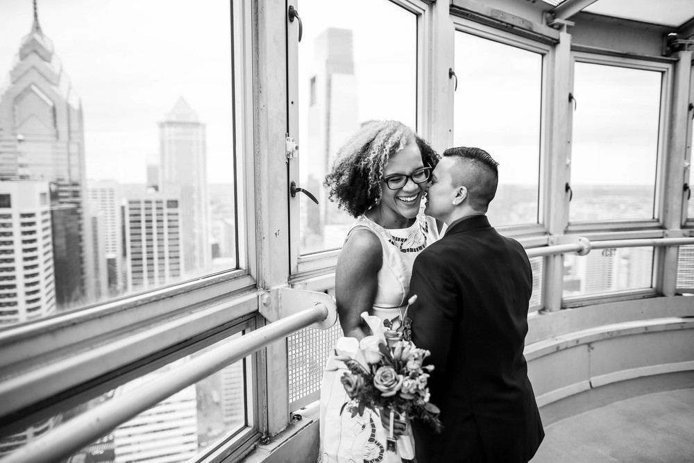 Philadelphia City Hall Observation Deck Lesbian Wedding
