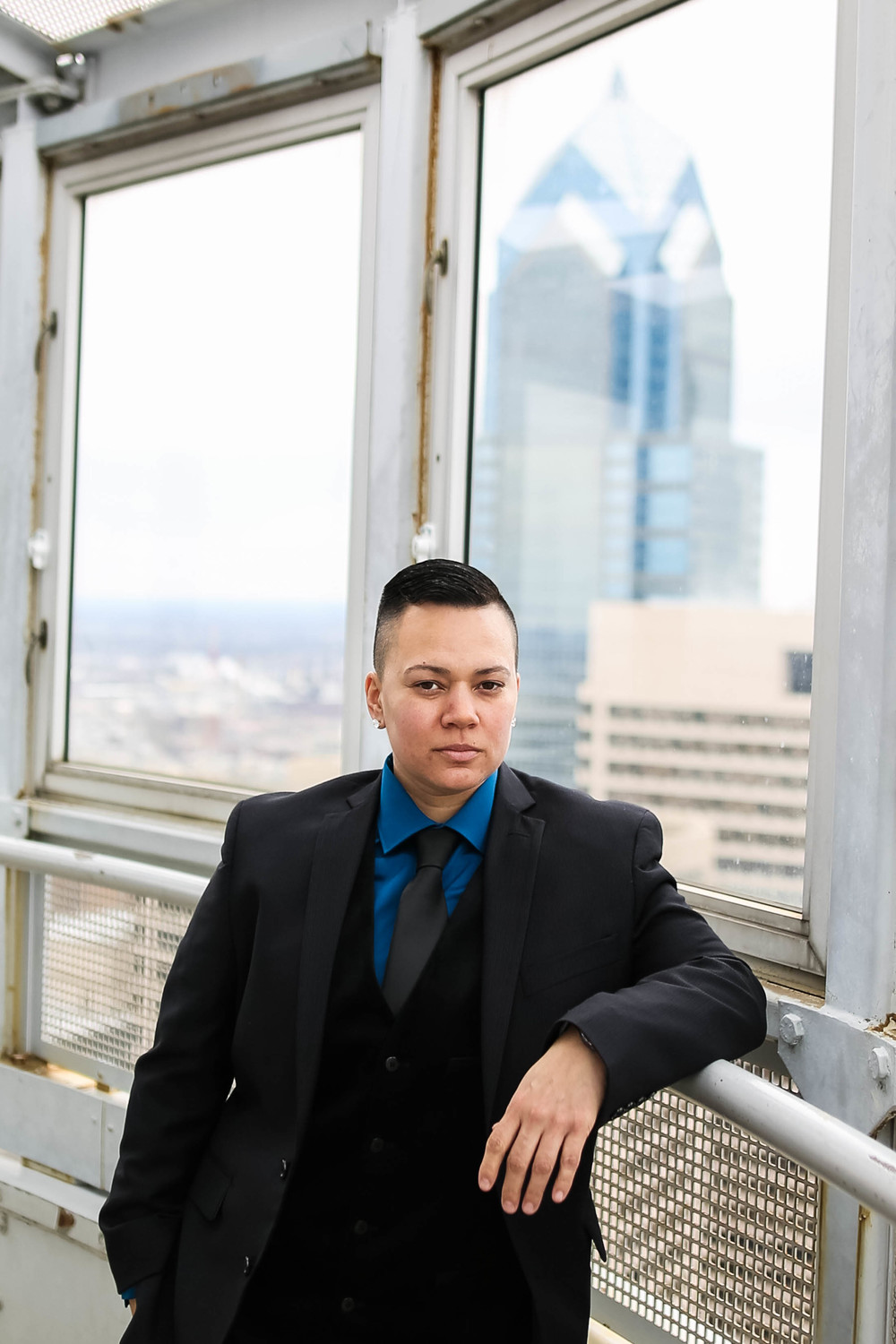 Philadelphia Butch Bride at City Hall Lesbian Wedding