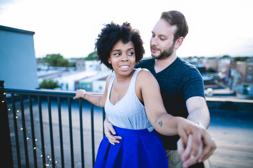 Monet has planned a industrial, classic Philadelphia wedding for later this month and so her home and roof deck was the perfect location for their engagement session!