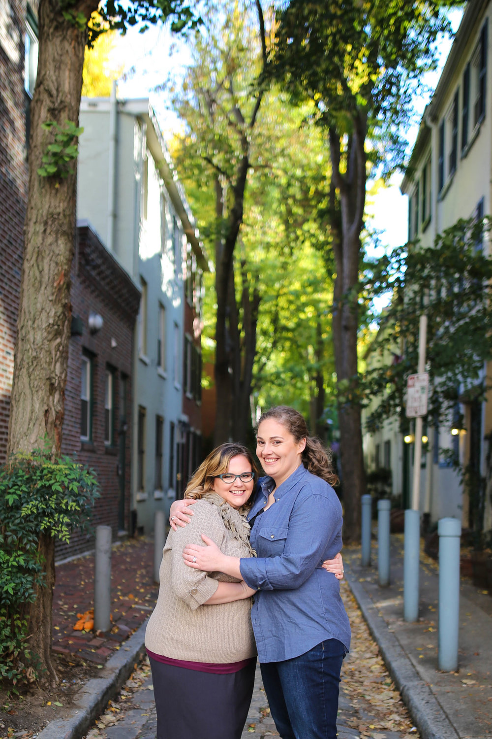 For Mary and Arielle's engagement session, we walked around some of their favorite parts of center city, but we avoided the crowds by finding little side streets!