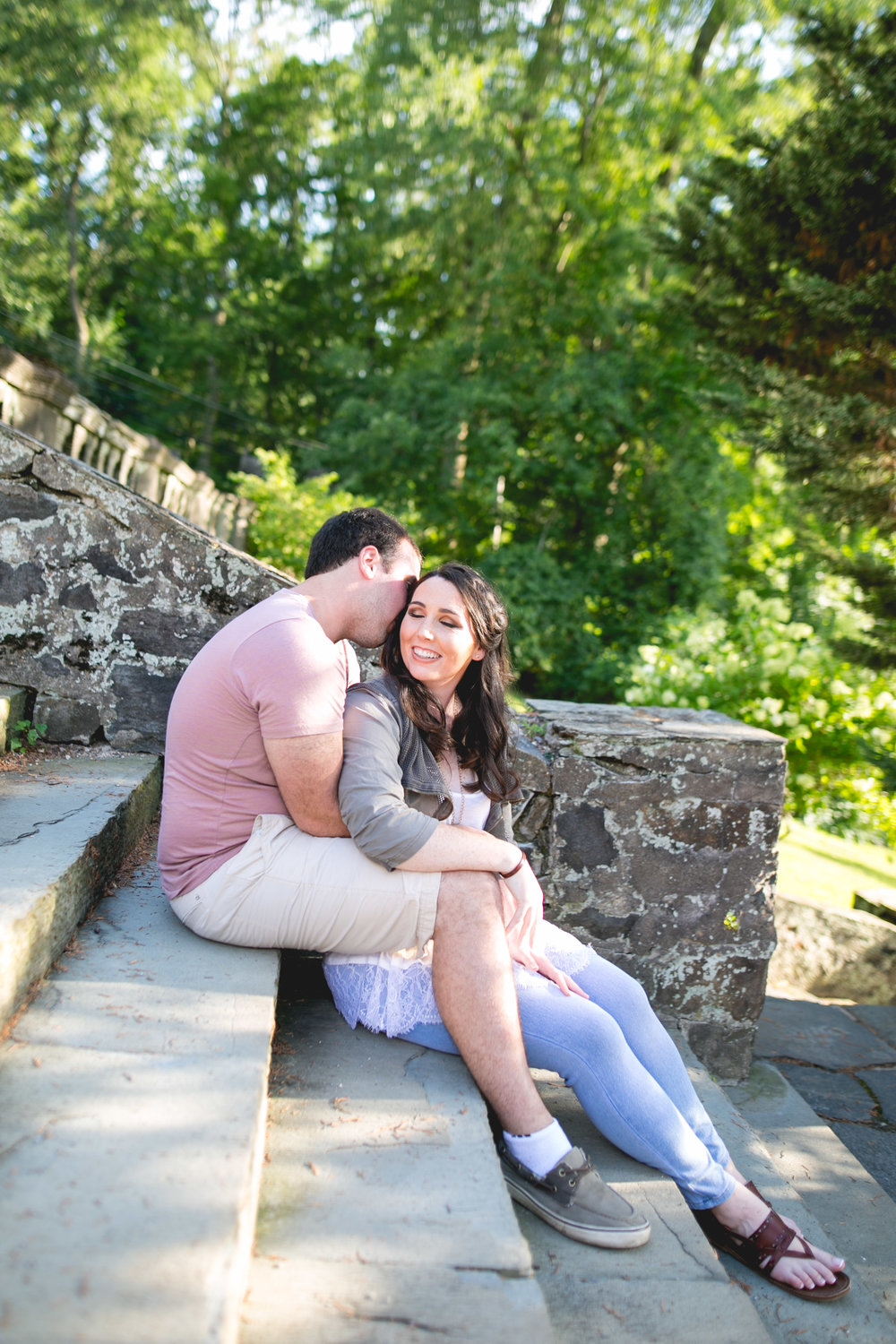 We got both glow and less people by shooting at Eastern University during the summer in the evening for this engagement session!