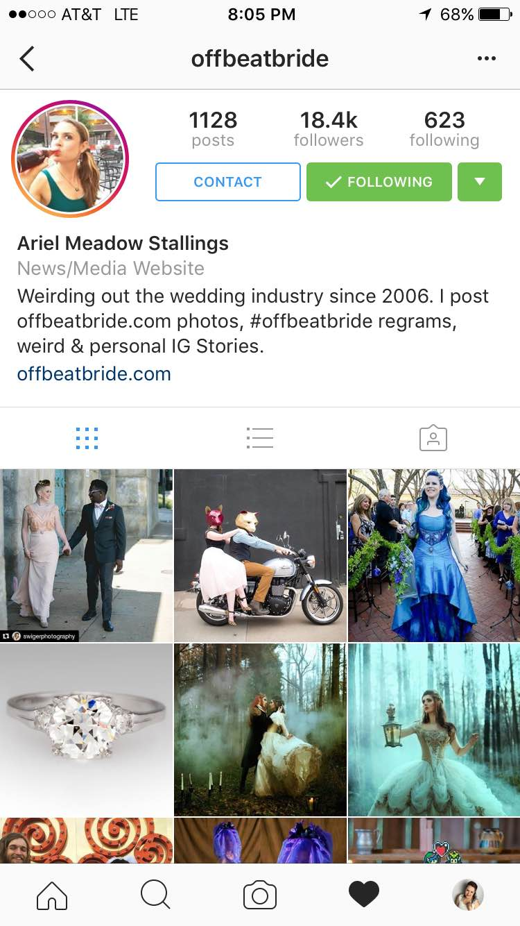 Here is the Offbeat Bride Page!  With my photo being that first one!