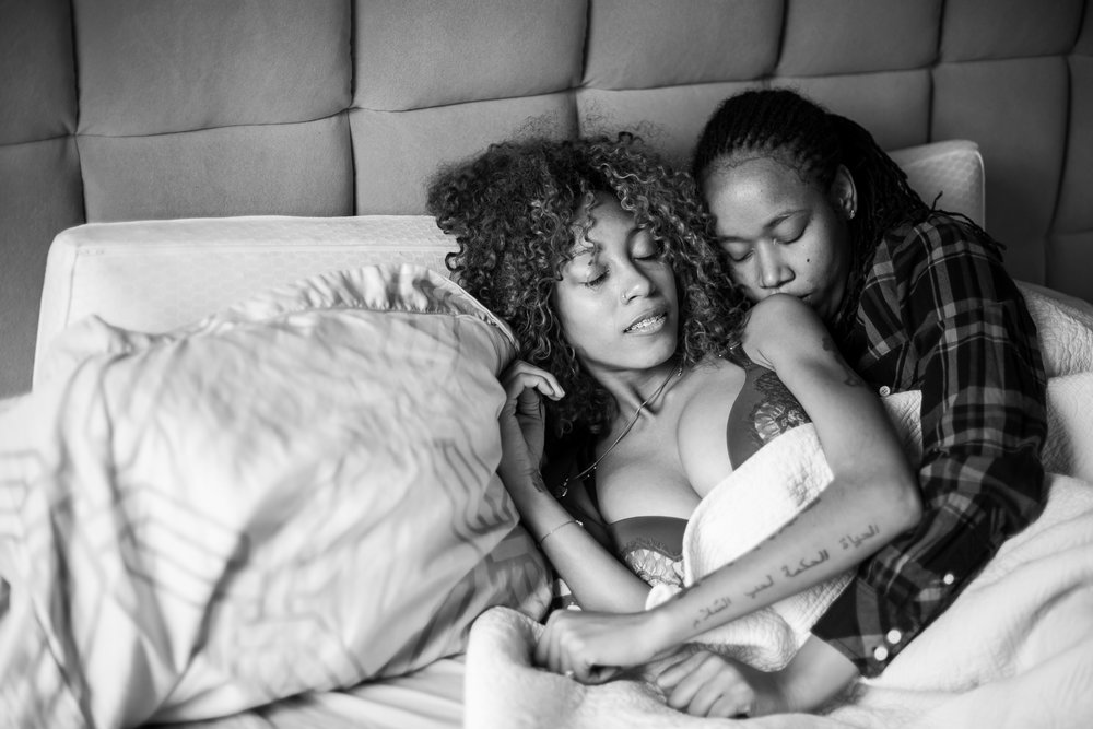 lesbian in home boudoir session Philly