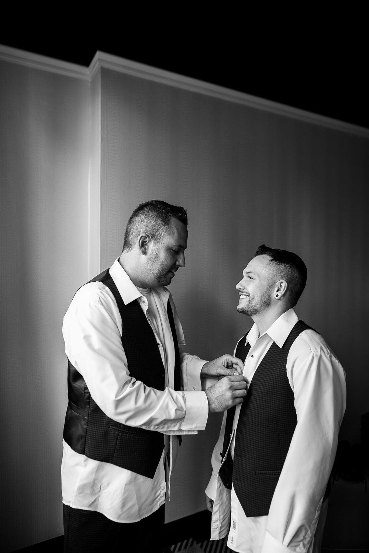 two grooms getting ready Philadelphia gay wedding