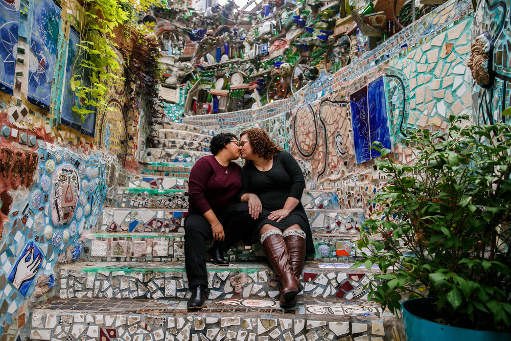 Alyssa and Kim get married in September but we celebrated their engagement with a photo session at Philadelphia Magic Gardens last fall!  These two have the most incredible wedding outfits and style and even more than that, they support each other so beautifully!