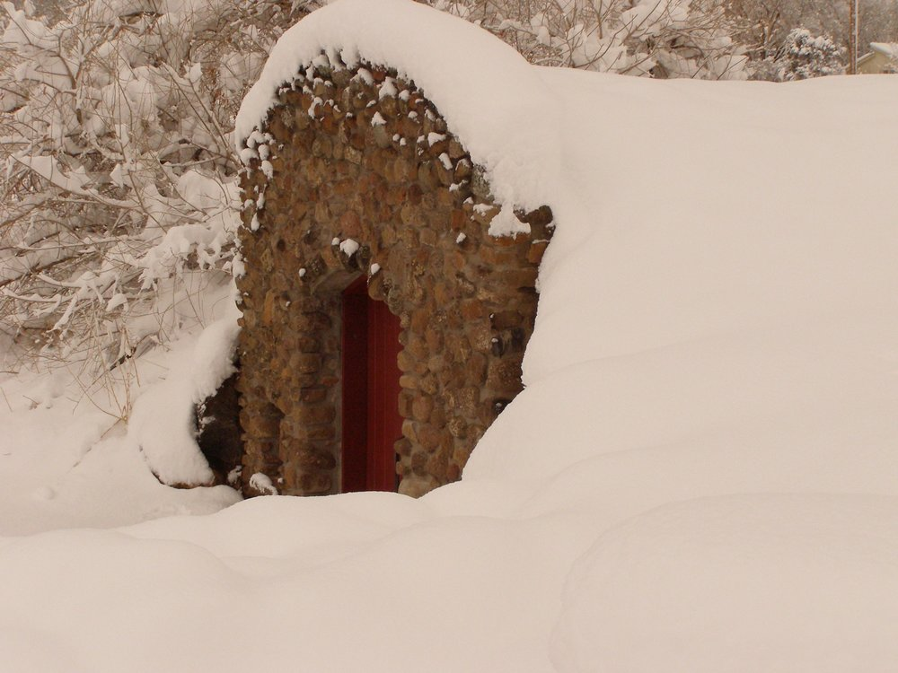 The front of our wine cellar mid-winter