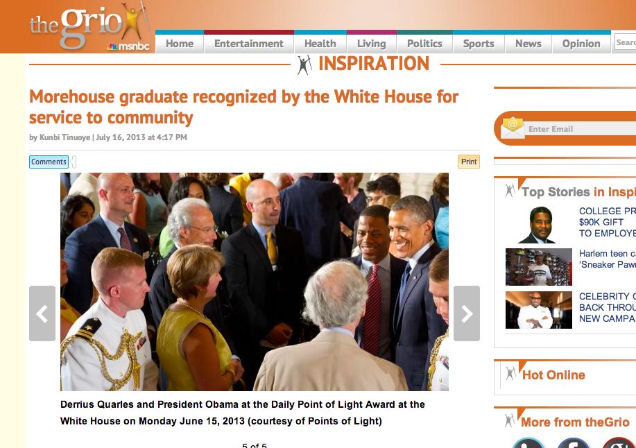 Derrius Quarles – White House Obama The Grio