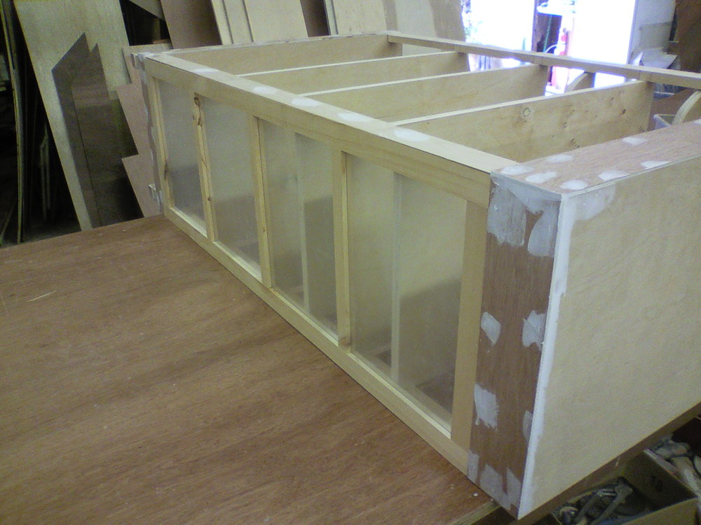 Freud's Last Session  curio cabinets under construction.