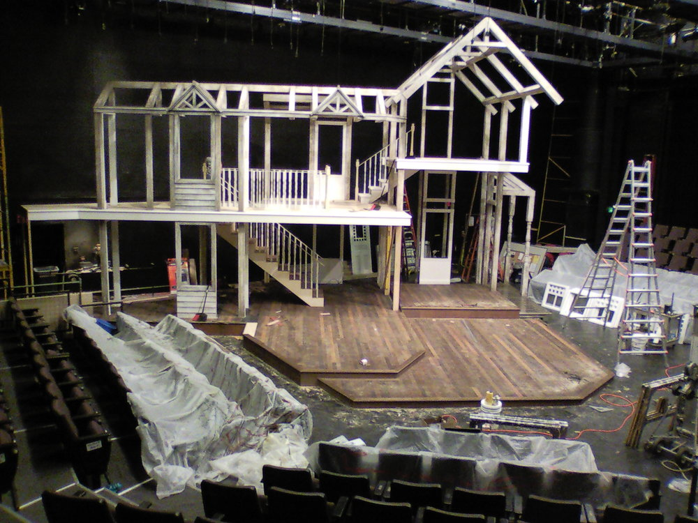 The  August: Osage County  house under construction on the F. Otto Haas Stage.