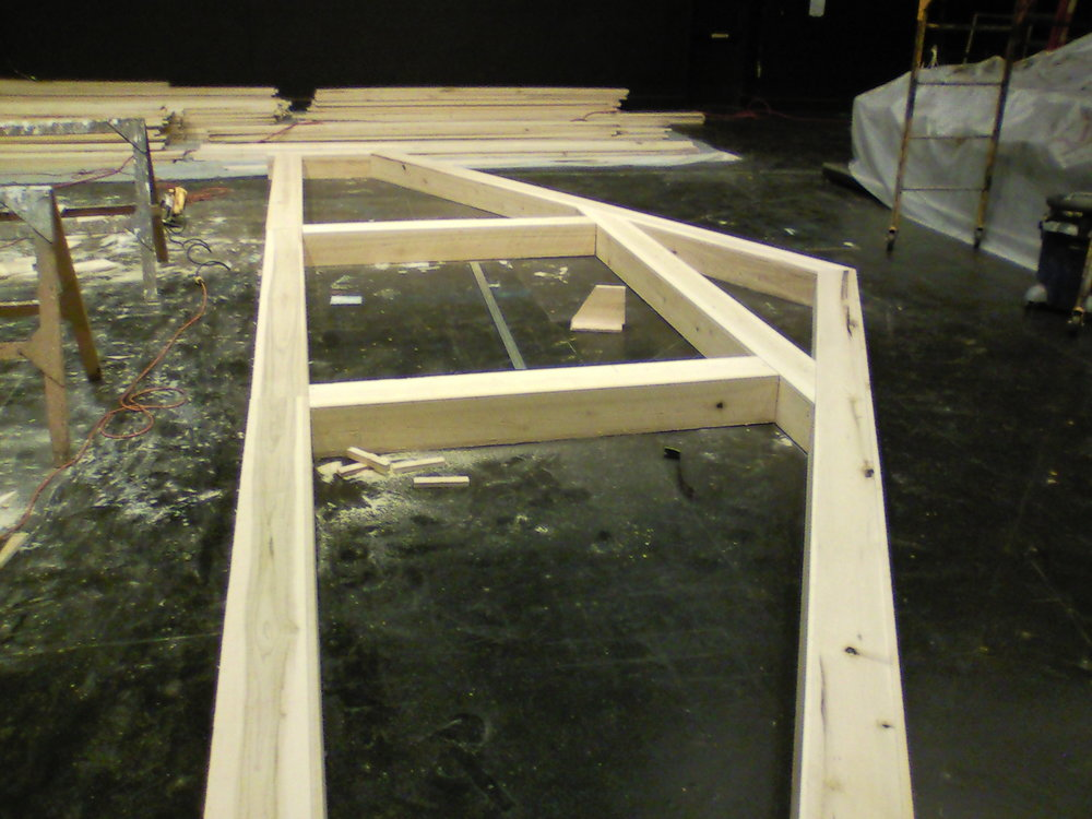 Charlotte's Web  set under construction.  Almost all parts of this set were made with fresh, rough cut Poplar.  Posts and trusses were made in the hollow box style.