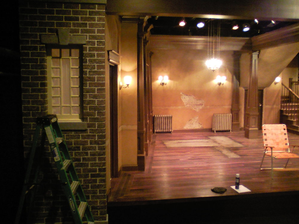 Clybourne Park  set under construction.  This set had to time travel decades between acts, so all fixtures and molding were removable.