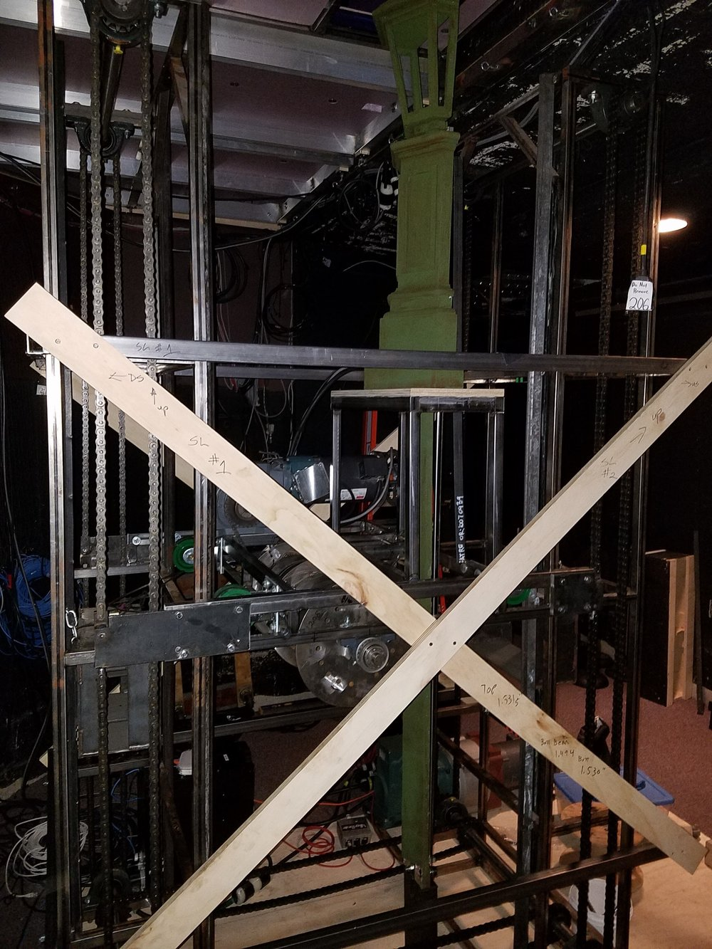 Assembled elevator rig installed in the orchestra pit at the Francis J. Gaudette Theatre.