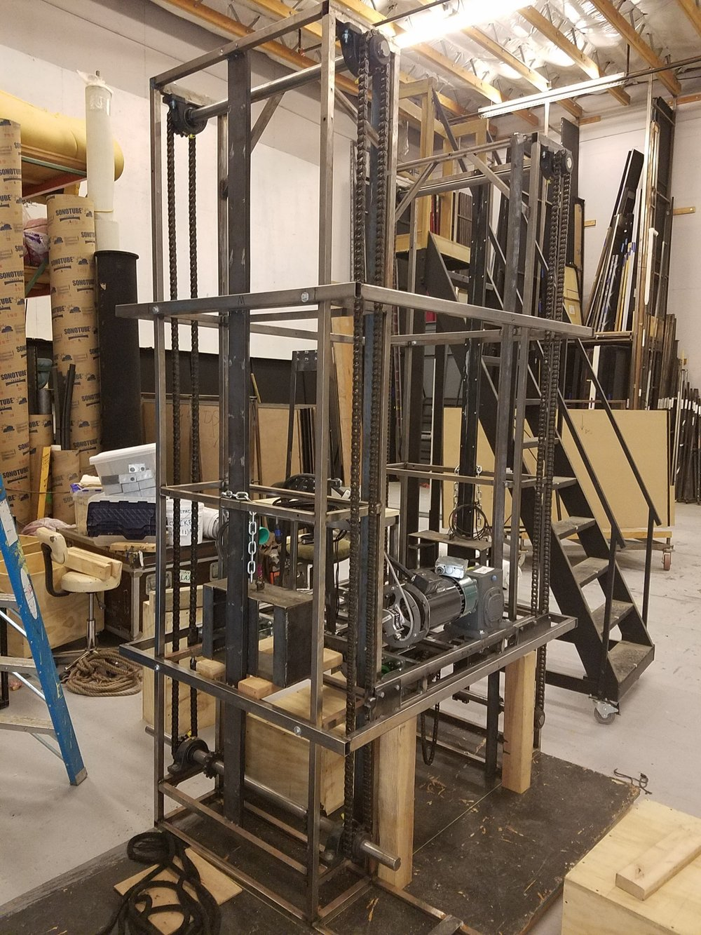 The 39 Steps  elevator in the dry-fit stage.