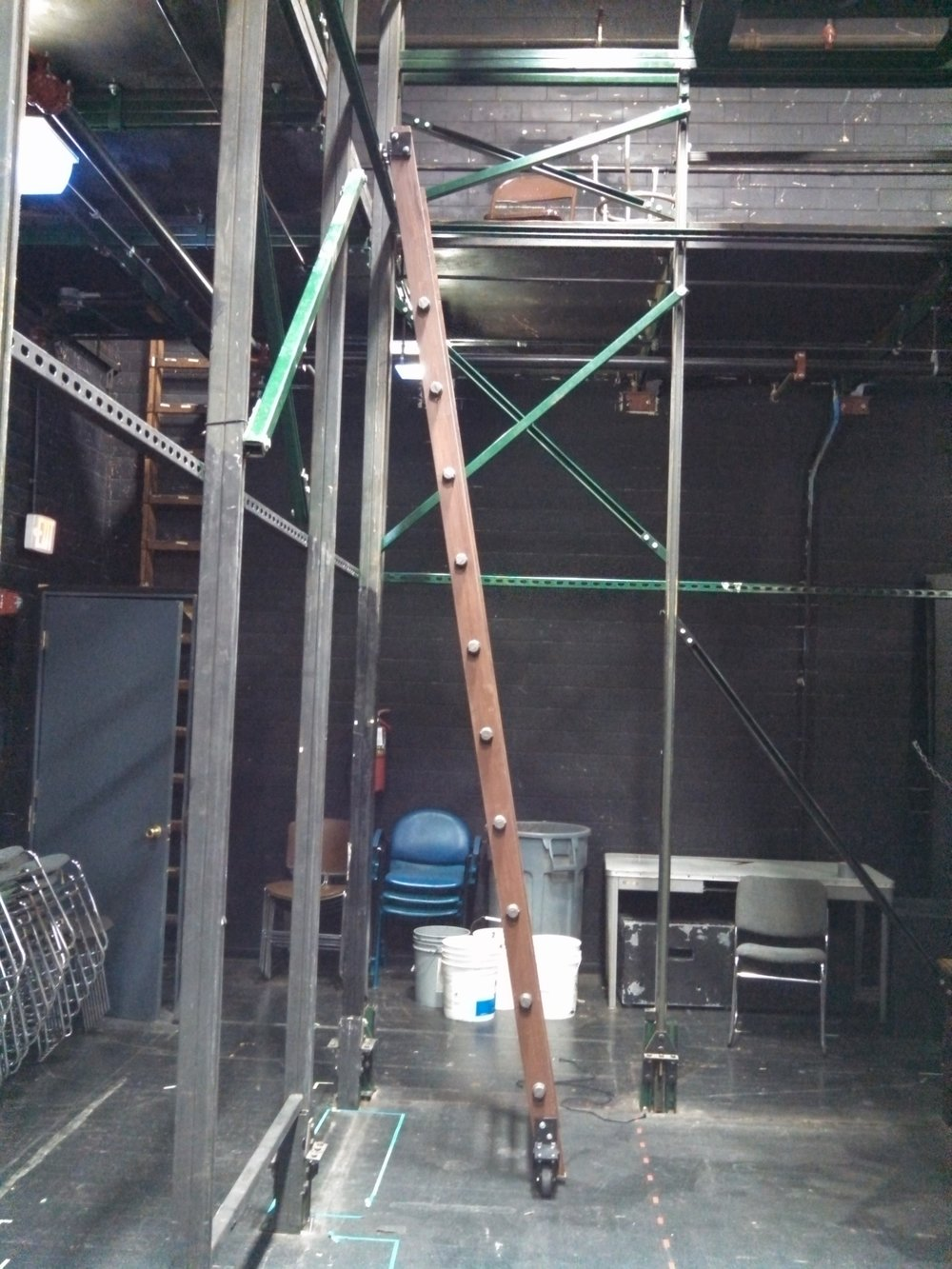 Completed ladder in position.