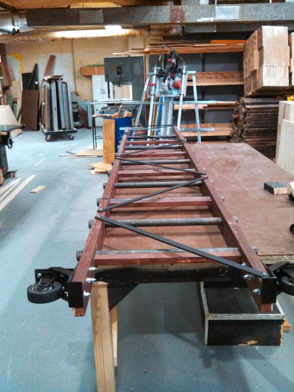 Completed ladder with crossbracing.