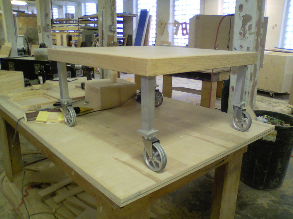 Dry fit of rolling coffee table.