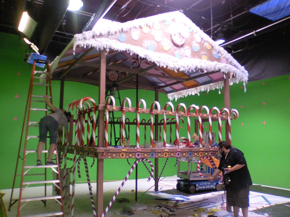 Candy Land set under construction.