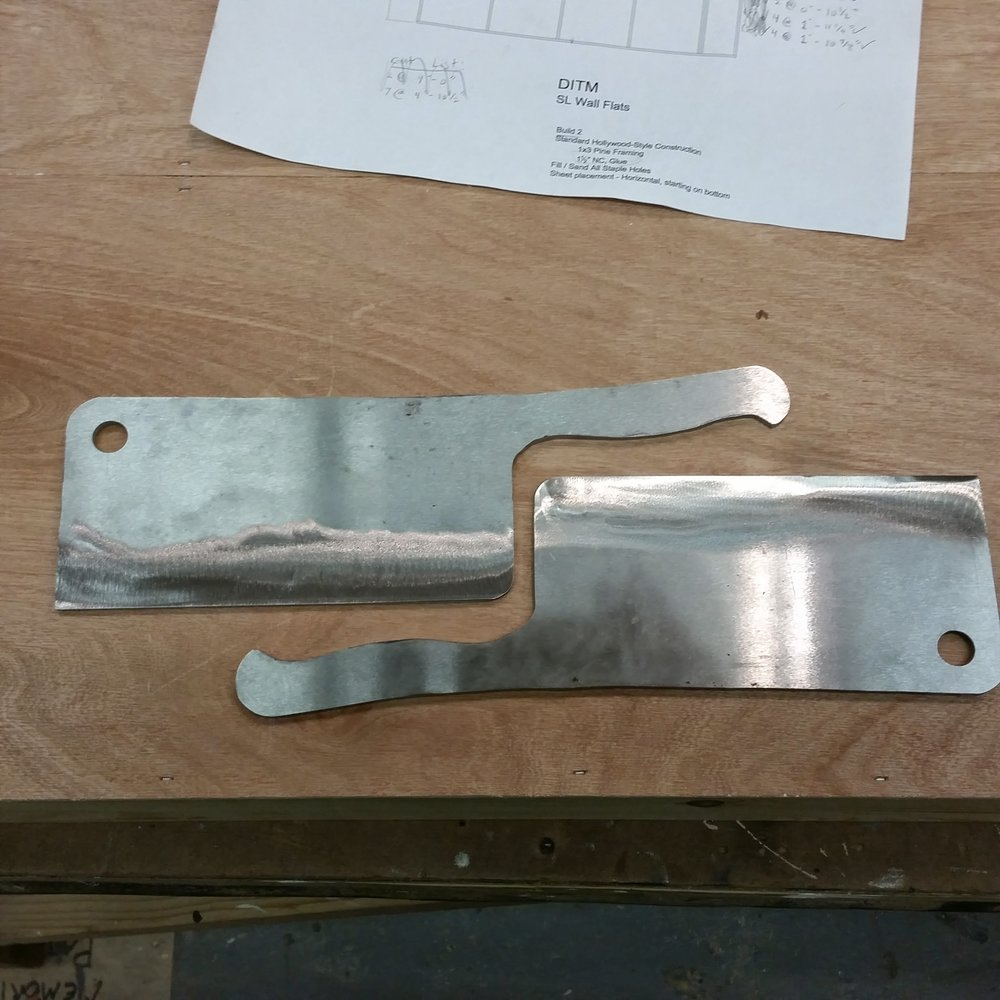 "Cleaver blanks cut out of 1/4"" O-1 Steel."