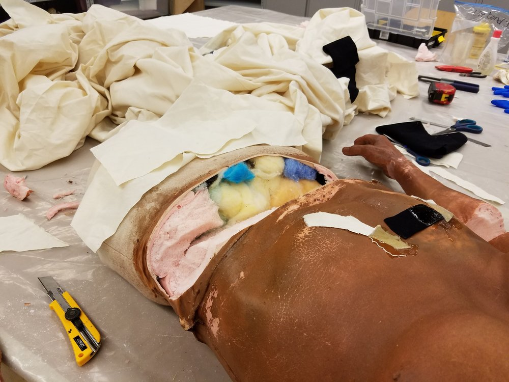 "This dummy was ""half-anatomical"", so the top was realistic, and the bottom was stuffed with foam"