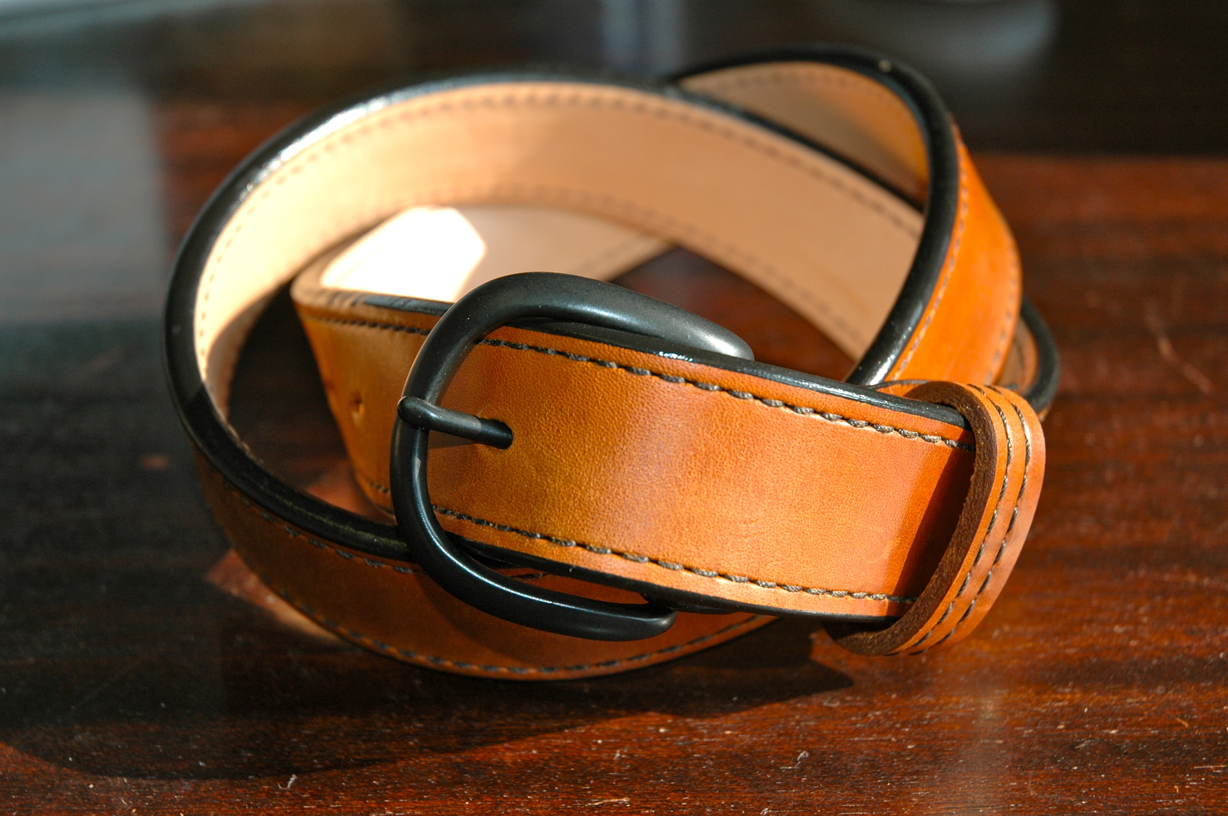 Tan Horsehide Belt with a Round Powder-Coated Black Buckle