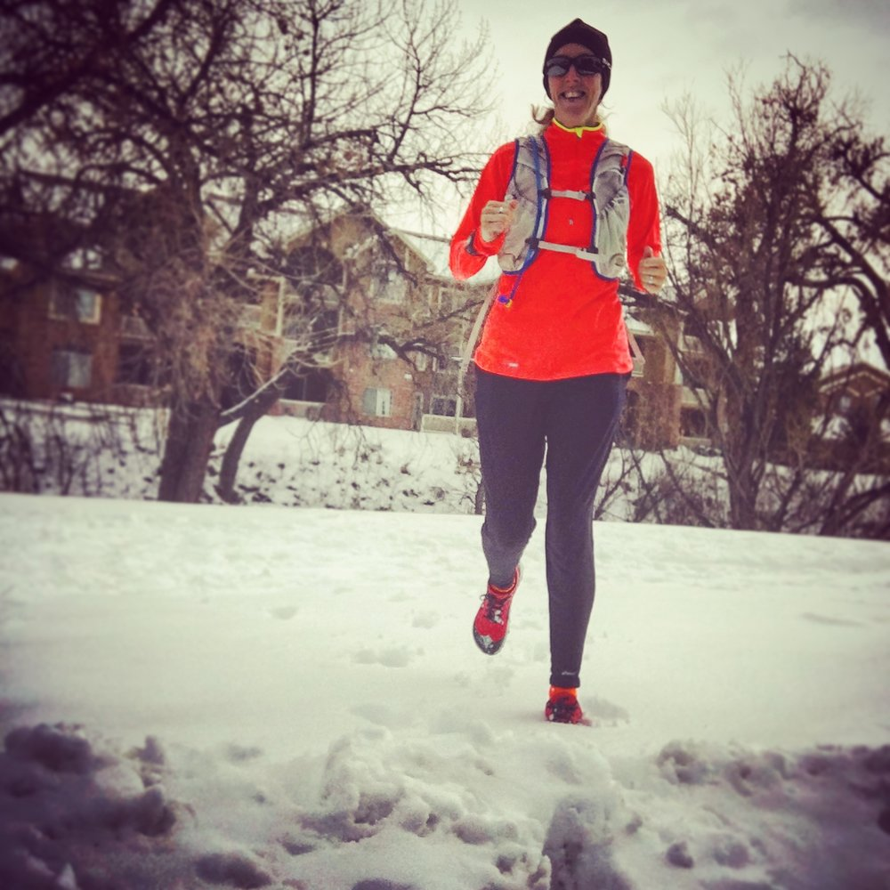 Running in Littleton, Colorado snow