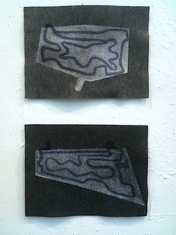 "1st version: Farrin gave ""Bodies at Rest,"" a felt diptych to Aylén (felt, acrylic, 9""x24"", 2012)"