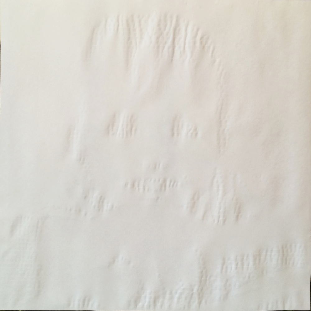 Version 1: Roldán's contribution is a ghostly image of a child. Printed on paper without ink, the image emerges as embossed marks created by the inkless cartridge