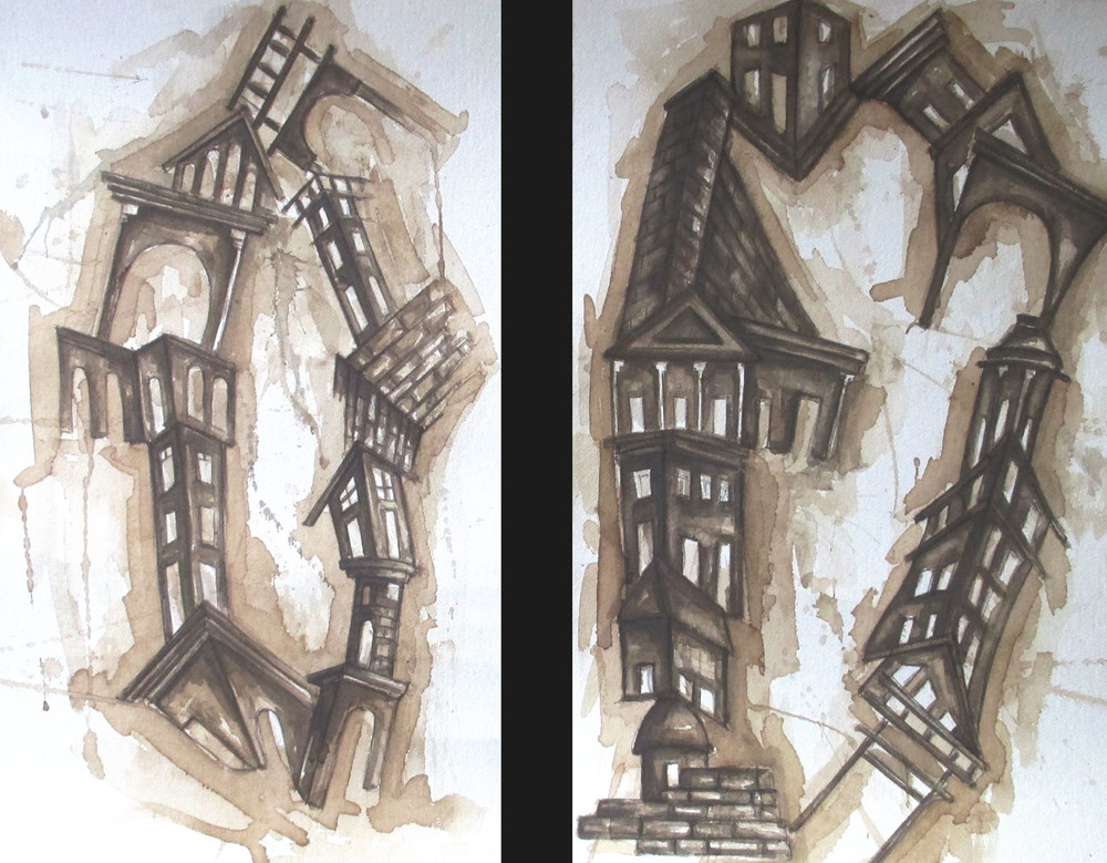 1st version:  Rodríguez  creates two absurdist architectural renderings using coffee on paper