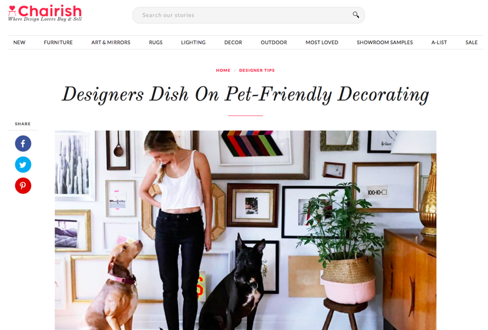 Chairish Blog: Pet Friendly Decorating