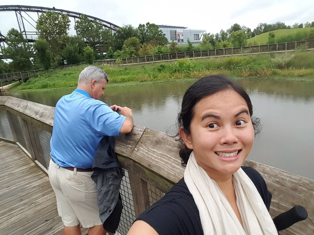 The man made wetlands is home to plenty of wildlife that includes a variety of birds and fish, turtles, even bats. Prime opportunity to take a sneaky selfie while John was looking for snakes!
