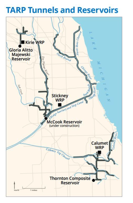 Map of the TARP Tunnels and Reservoirs