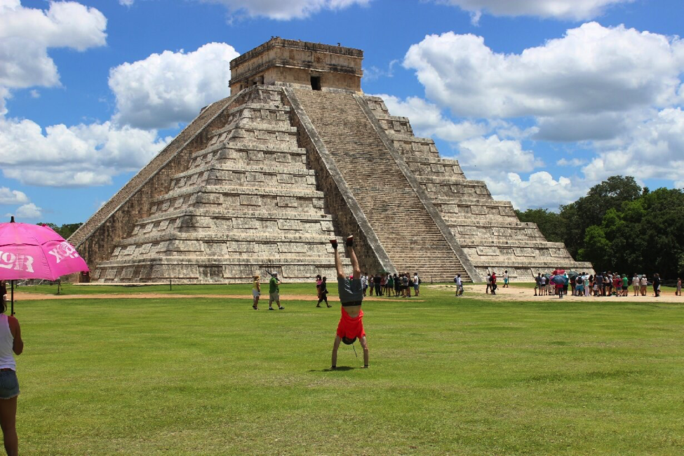 Zach Nikin did a pretty cool handstand at Chichen Itza in Mexico.