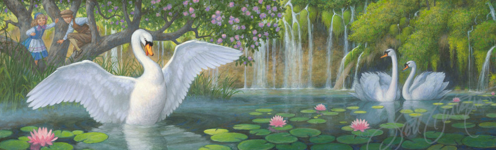 """The Duckling is a Beautiful Swan!"" - oil on panel, image size approx. 24"" x 7.5"""