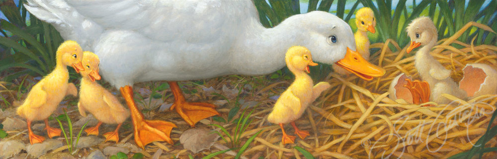 """Mother Duck and her Ducklings"" - oil on panel, approx. image size: 24"" x 7.75."""