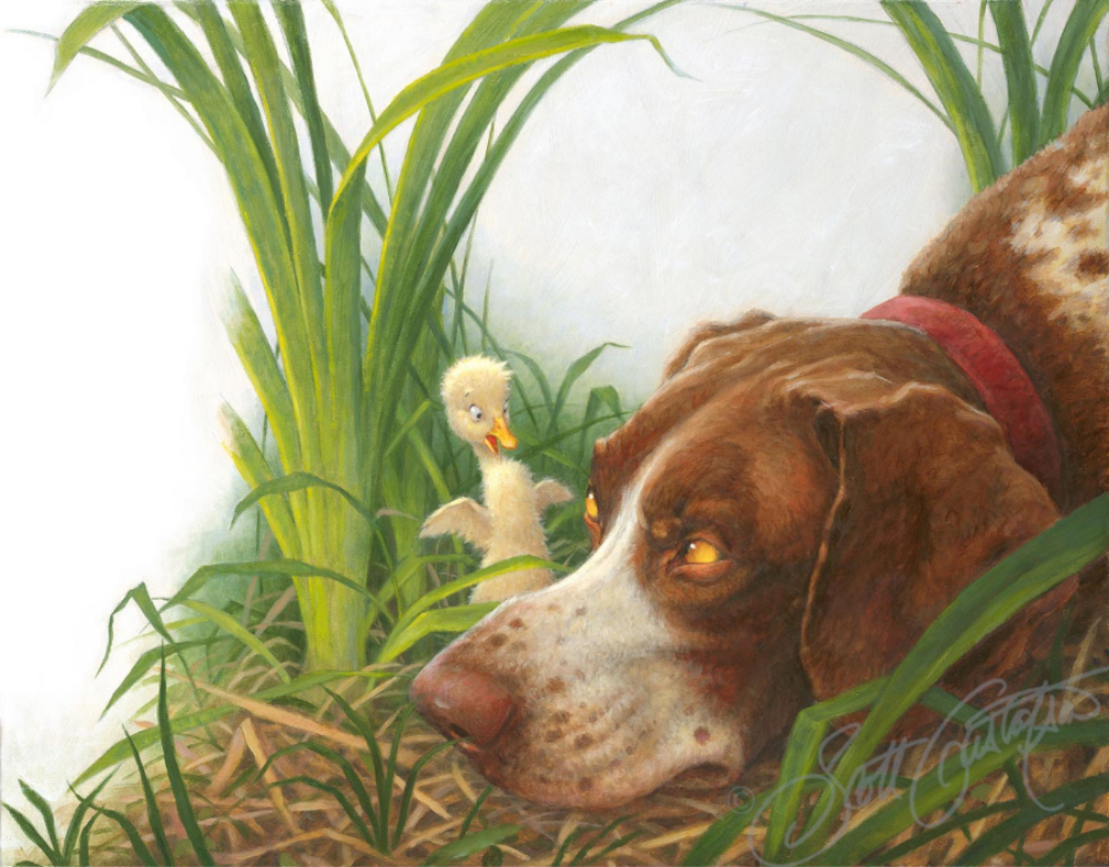 """The Duckling and the Dog"" - oil on panel, image size approx. 18"" x 14"""