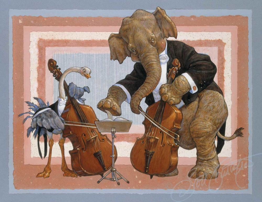 Double Basses: Ms. Ostrich and Mr. Elephant