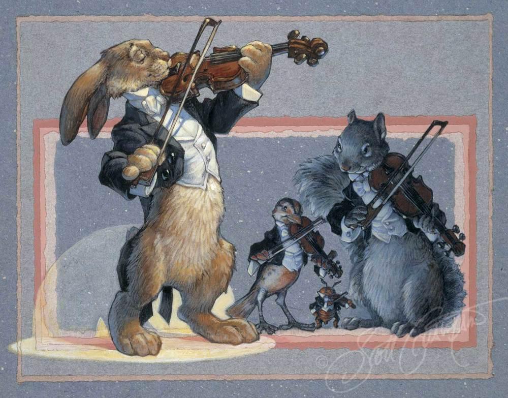Violins: Mr. Rabbit, Mr. Beetle, Ms. Meadowlark and Mr. Squirrel