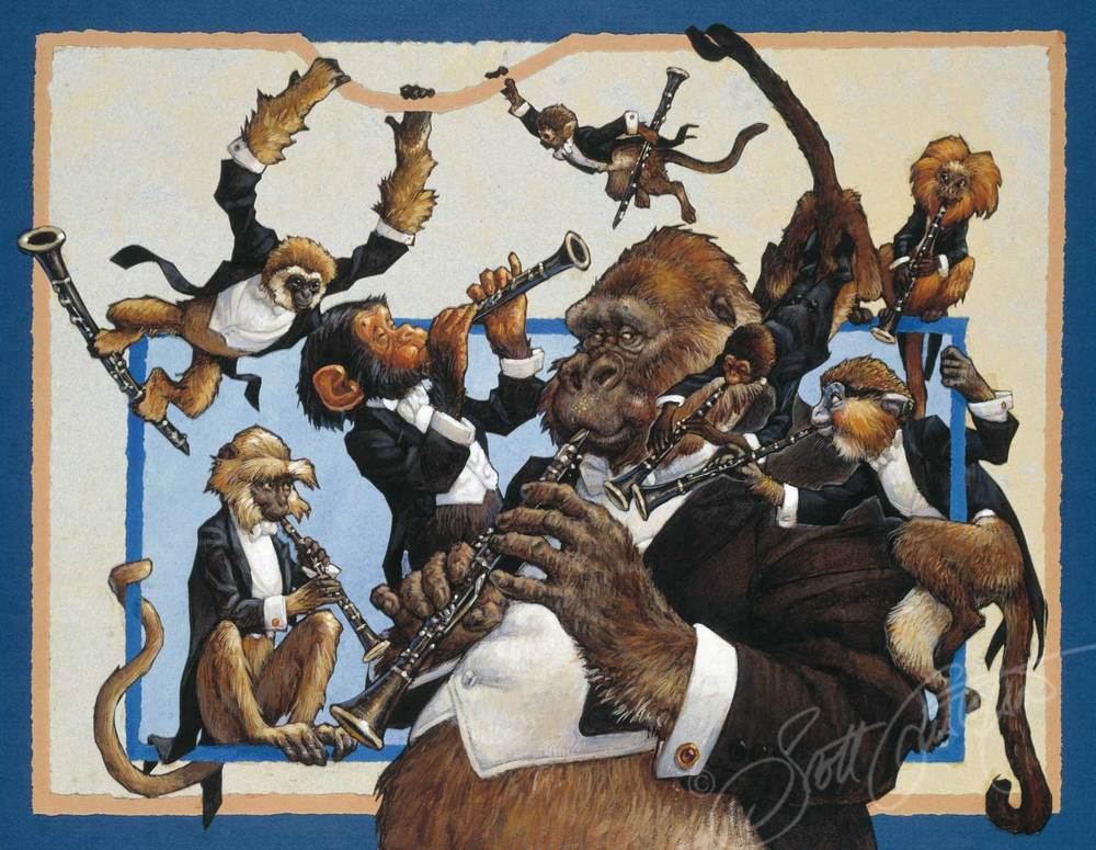 Clarinets: Mr. Gibbon, Mr. Hanuman Langur, Mr. Chimpanzee, Mr. Squirrel Monkey, Mr. Gorilla, Mr. Red Spider Monkey, Mr. Maned Marmoset and   Mr. Mustached Guenon